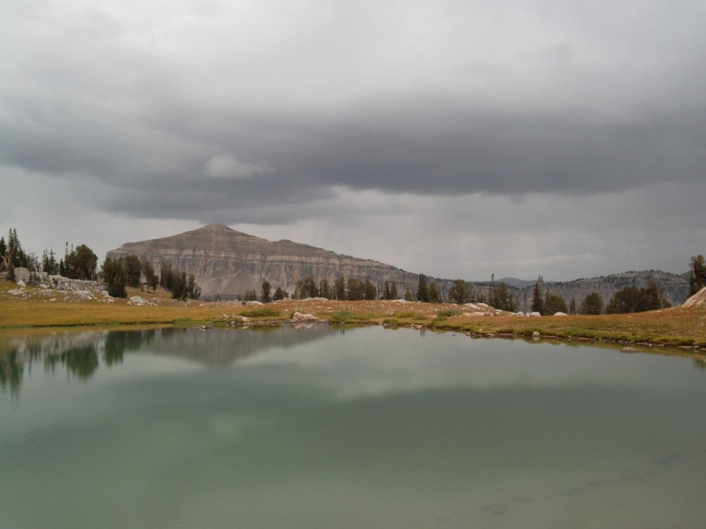 rain clouds with mount meek (from whence we came) in background